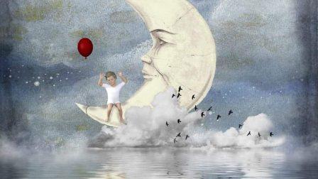 Réalises ses rêves: enfant, lune, nuage